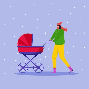 Gelukkige mensen lopen buiten in het winterpark. vrouw met kinderwagen veel plezier buiten. jonge moeder die voor kind draagt. vector seizoensgebonden illustratie.