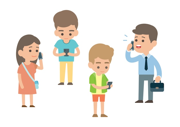 Gelukkige mensen met behulp van de smartphone