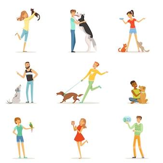 Gelukkige mensen met plezier met huisdieren, man en vrouw trainen en spelen met hun huisdieren illustraties