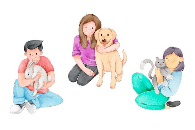 Gelukkige mensen met vrolijke dieren