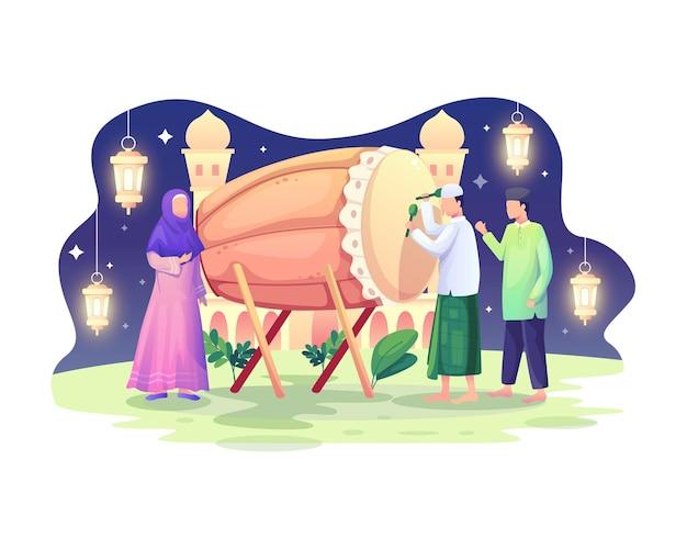 Gelukkige mensen moslim vieren ramadan kareem met bedug of drum illustratie
