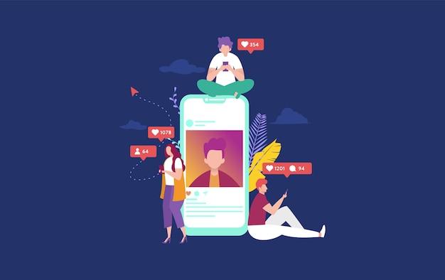 Gelukkige mensen op sociale media concept illustratie