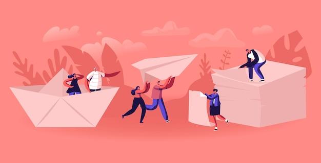 Gelukkige mensen origami hobby beroep concept. cartoon vlakke afbeelding