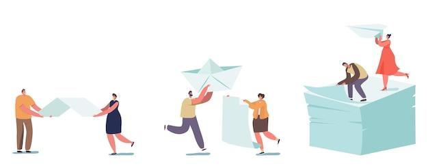Gelukkige mensen origami hobby beroep concept. kleine mannelijke en vrouwelijke personages creëren enorme figuren van papier, vliegtuig en schip, zittend op de top van witte lakens. cartoon vectorillustratie