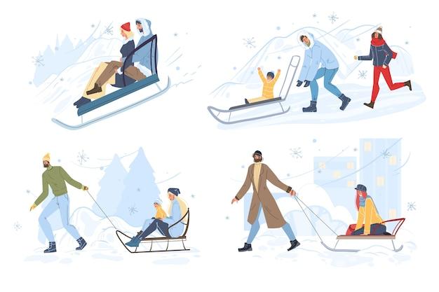 Gelukkige mensen sleeën hebben winterpret outdoor set.