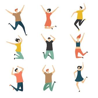 Gelukkige mensen springen. vier jubelen sprong groep van mannen en vrouwen tieners lachen leuke en grappige gestileerde personages