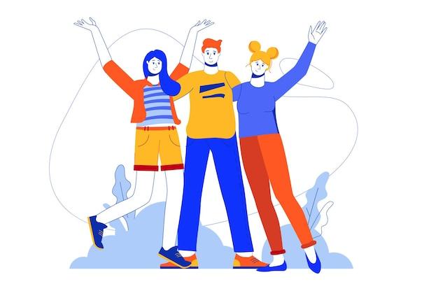 Gelukkige mensen staan samen webconcept. man en vrouw knuffelen en handen opsteken
