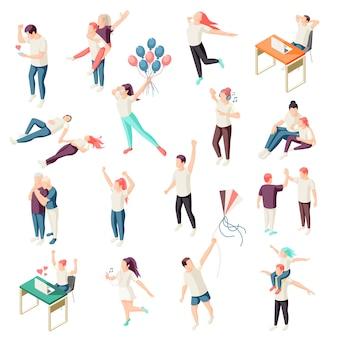 Gelukkige mensen tijd doorbrengen samen ontspannen genieten van natuur chat fysieke activiteit buiten isometrische pictogrammen collectie