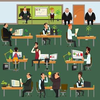 Gelukkige mensen uit het bedrijfsleven werken op kantoor. mensen die op kantoor werken, elk op hun werkplek. corporation.