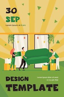 Gelukkige mensen verhuizen naar een nieuw huis. stripfiguren met kartonnen dozen en een bank binnenshuis. flyer-sjabloon