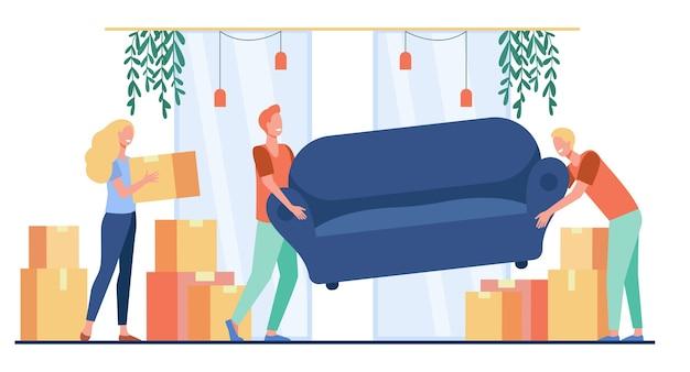 Gelukkige mensen verhuizen naar een nieuw huis. stripfiguren met kartonnen dozen en een bank binnenshuis