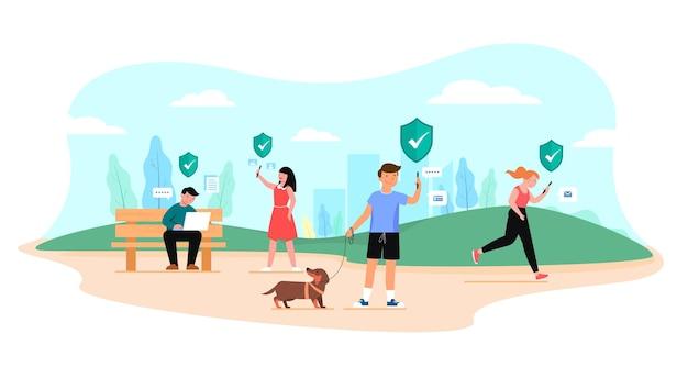 Gelukkige mensen wandelen en rusten in het groene eco-stadspark in stripfiguur, mensen levensstijl met mobiele telefoon concept, plat