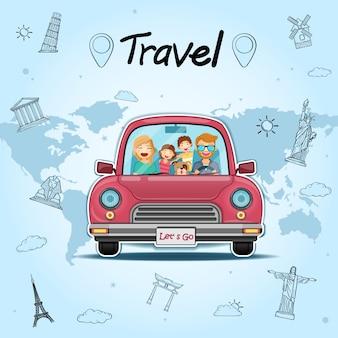 Gelukkige mensenreiziger en hond op rode auto met controle binnen puntreis rond het wereldconcept op blauw hartontwerp als achtergrond.