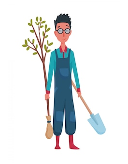 Gelukkige mensentuinman of landbouwer met schop en boom in hand op een witte achtergrond. stripfiguur van man landbouw concept illustratie. ontwerpelement van een privéboerderij