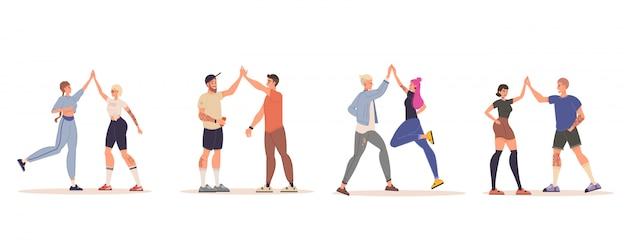 Gelukkige mensenvrienden die hoogte vijf geïsoleerde reeks geven