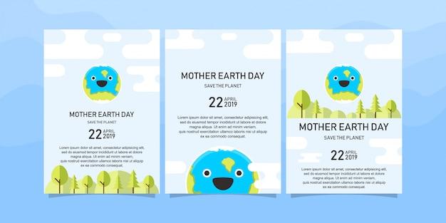 Gelukkige moeder aarde dag brochure