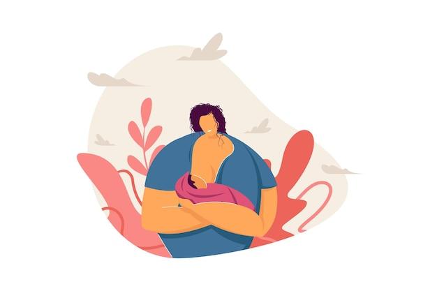 Gelukkige moeder die baby borstvoeding geeft