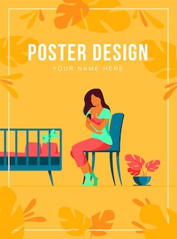 Gelukkige moeder die haar baby poster sjabloon borstvoeding geeft