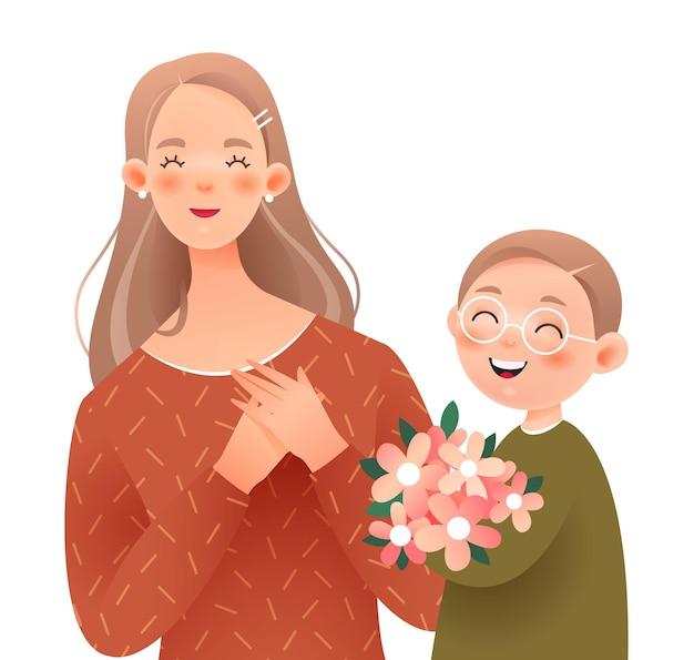 Gelukkige moeder en zoon. de jongen geeft zijn moeder een bos bloemen.