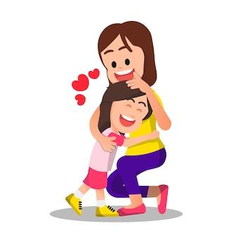 Gelukkige moeder knuffelen met haar dochter