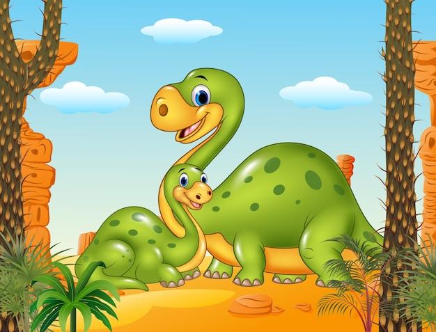 Gelukkige moeder met babydinosaurus op voorhistorische achtergrond