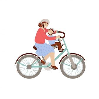 Gelukkige moeder met een fiets met kleine jongen op de voorste fietszitje, draagzak. gelukkige familie op fiets, vrouw en kind - cartoon illustratie, geïsoleerd op een witte achtergrond