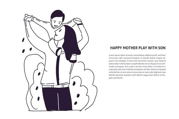Gelukkige moeder met kind hand getekende illustratie