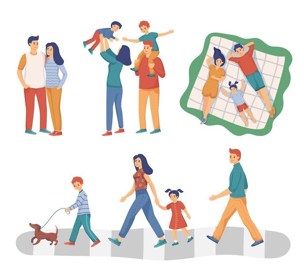 Gelukkige moeder, vader en kinderen samen platte illustraties set