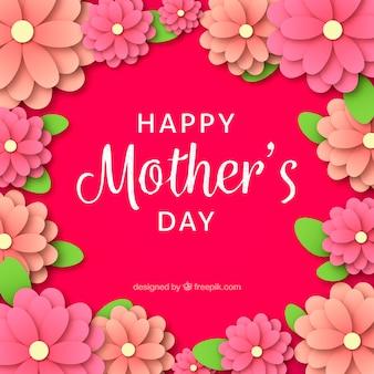 Gelukkige moederdag achtergrond in papier stijl
