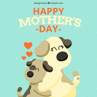 Gelukkige moederdag achtergrond met lieve honden