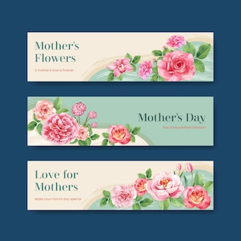 Gelukkige moederdag banner sjablonen instellen