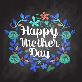 Gelukkige moederdag belettering. heldere illustratie met kleurrijke bloem