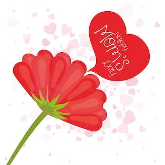 Gelukkige moederdag bloem en hart stijl