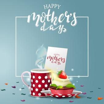 Gelukkige moederdag groet blauwe kaart