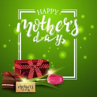 Gelukkige moederdag groet groene kaart