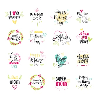 Gelukkige moederdag hand getrokken van letters voorziende inzameling voor groetkaart die op witte achtergrond wordt geïsoleerd