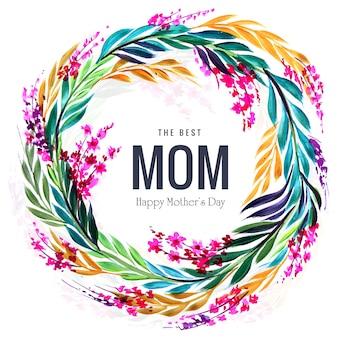 Gelukkige moederdag kaart en decoratieve cirkel bloemenlijst