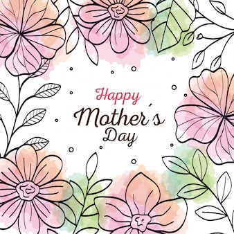 Gelukkige moederdag kaart met frame van bloemen decoratie