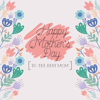 Gelukkige moederdag kaart met kruiden frame