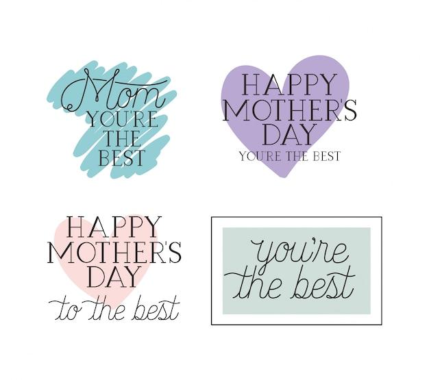 Gelukkige moederdag kaart set kalligrafie berichten