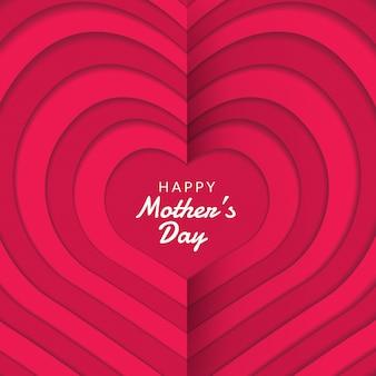 Gelukkige moederdag lay-out met rozen, belettering, papier knippen en textuur achtergrond. illustratie.