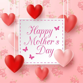 Gelukkige moederdag met bloemenachtergrond
