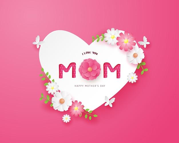 Gelukkige moederdag met hart vorm en bloemen op roze in papier knippen stijl.