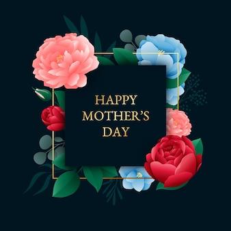 Gelukkige moederdag met kleurrijke rozen