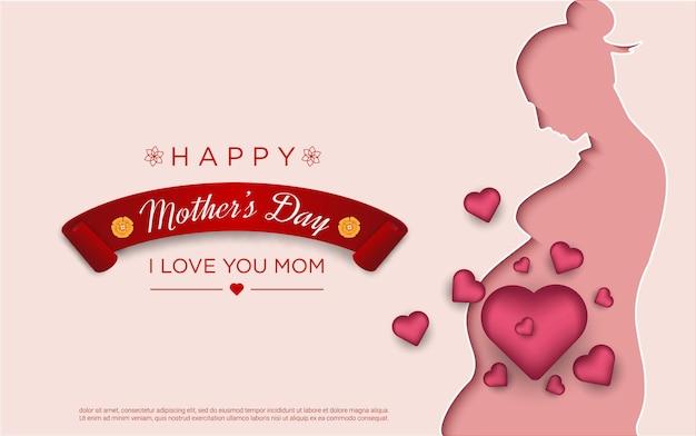 Gelukkige moederdag met mama papercut en realistische liefde