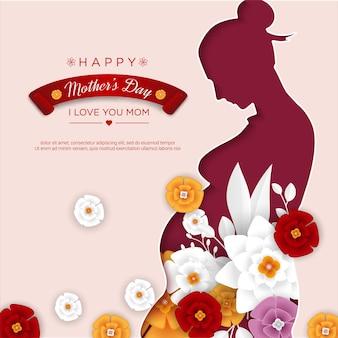 Gelukkige moederdag met moeder papercut en bloemen