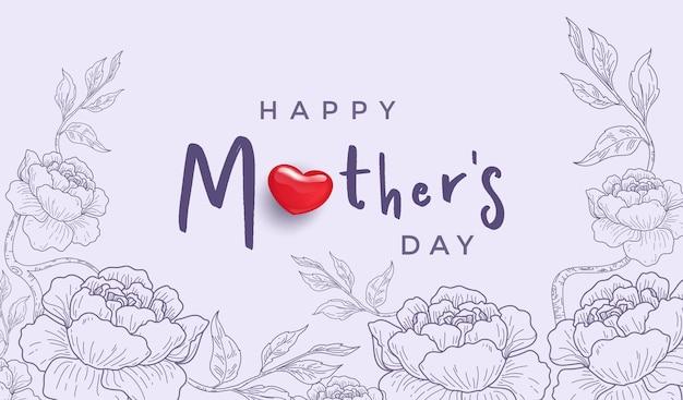 Gelukkige moederdag met realistische rood hart en bloemlijn hand getrokken kaart.