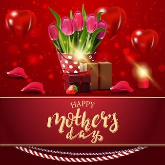 Gelukkige moederdag, moderne rode gelukwensprentbriefkaar