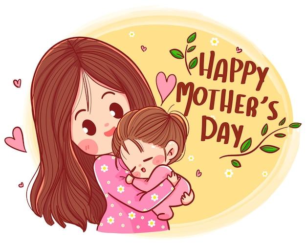 Gelukkige moederdag, mooie moeder en dochter karakter handgetekende cartoon kunst illustratie