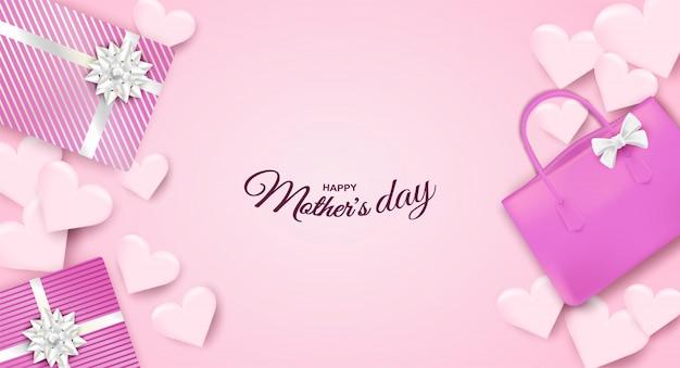 Gelukkige moederdag. ontwerp met geschenkdoos, tas en hart